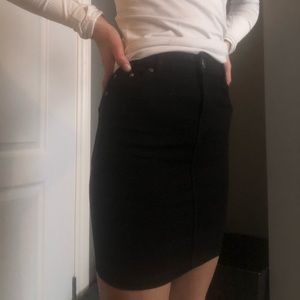 black jean mini-skirt